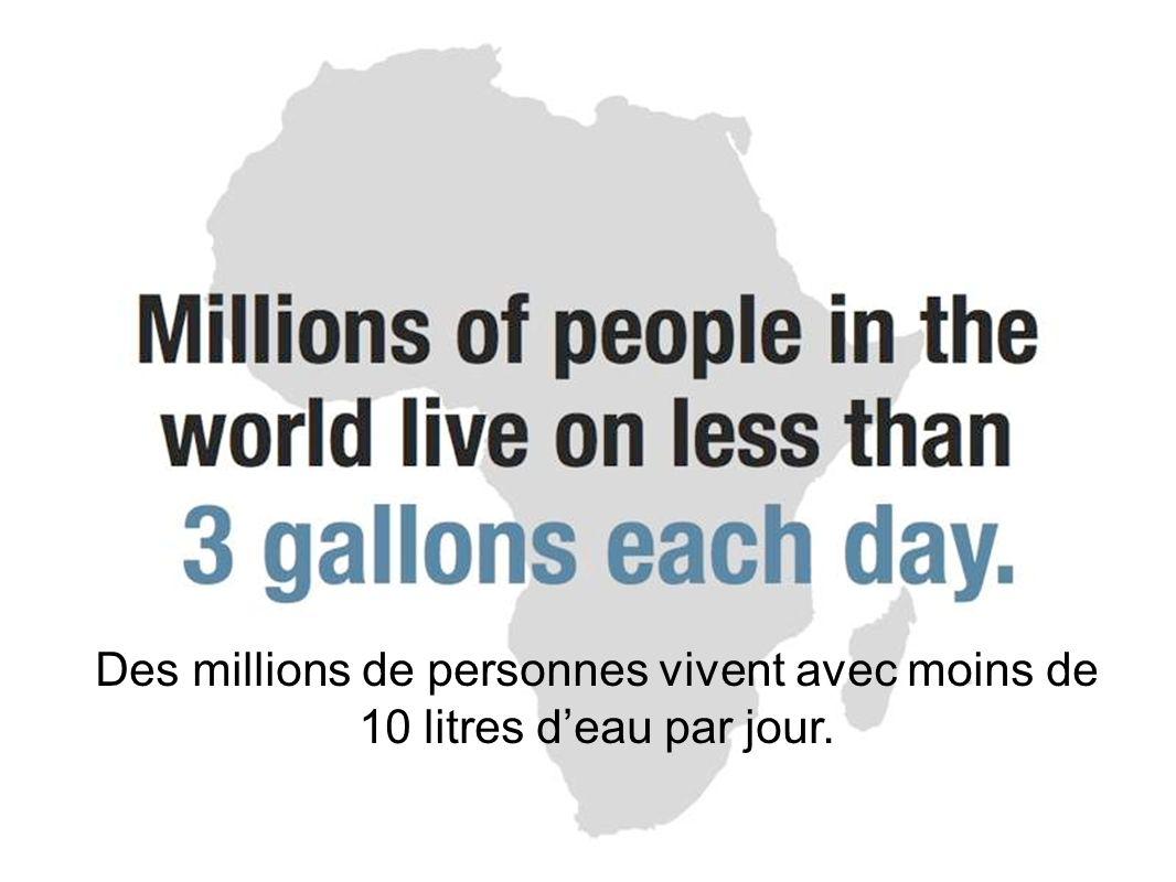 Des millions de personnes vivent avec moins de 10 litres deau par jour.