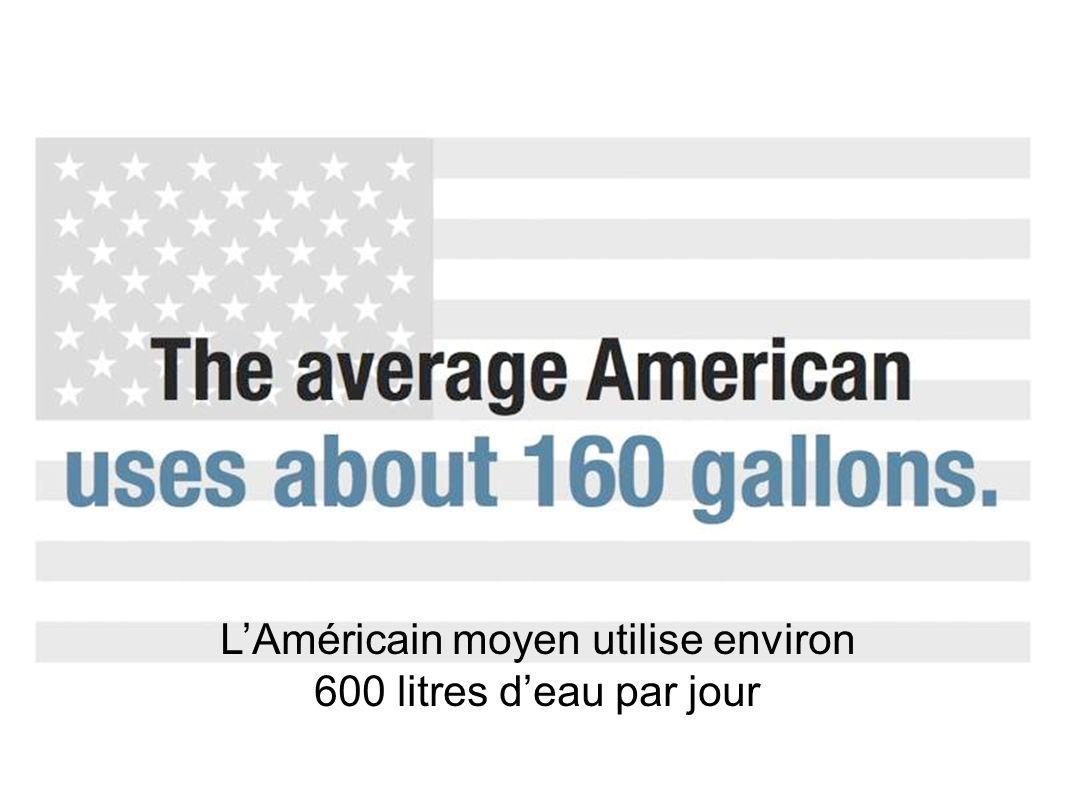 LAméricain moyen utilise environ 600 litres deau par jour