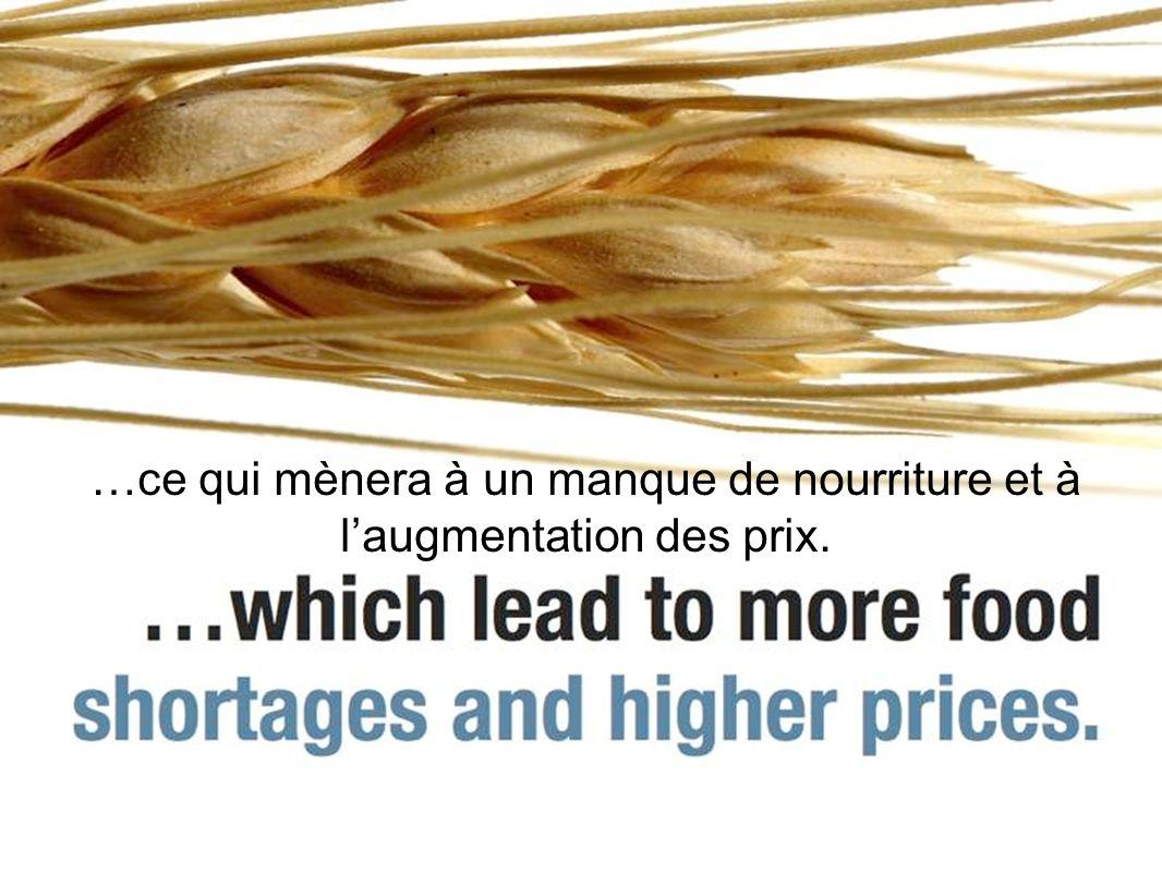 …ce qui mènera à un manque de nourriture et à laugmentation des prix.