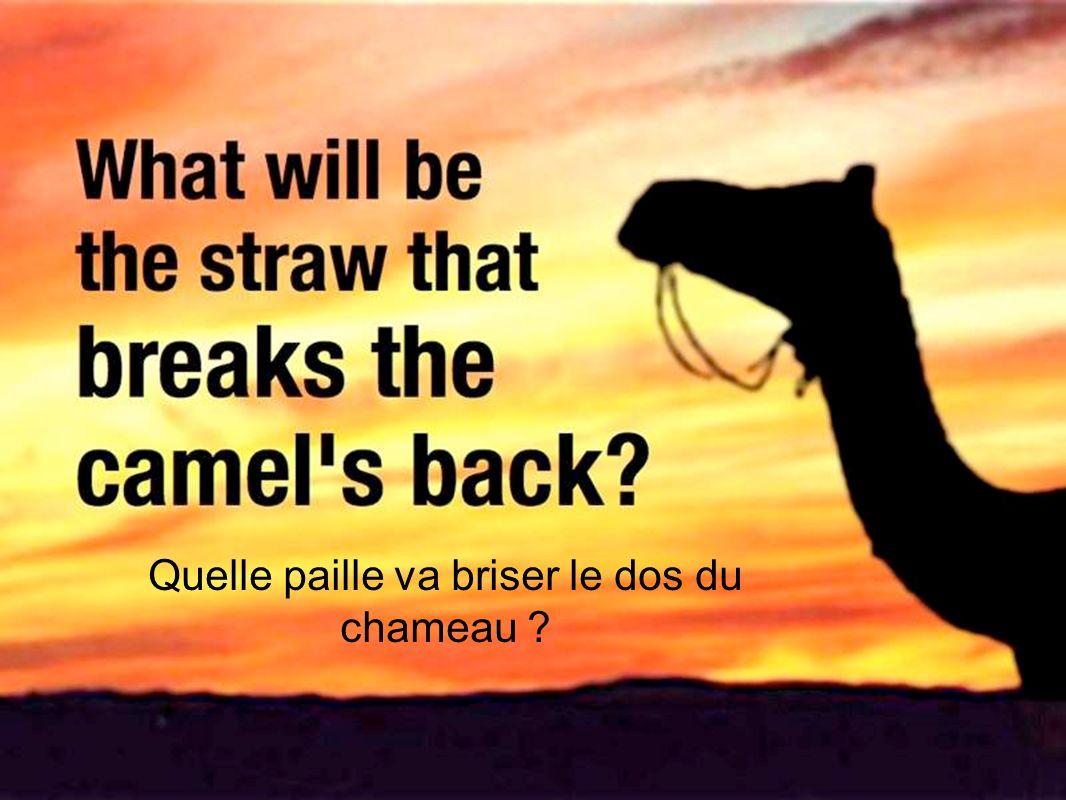 Quelle paille va briser le dos du chameau ?