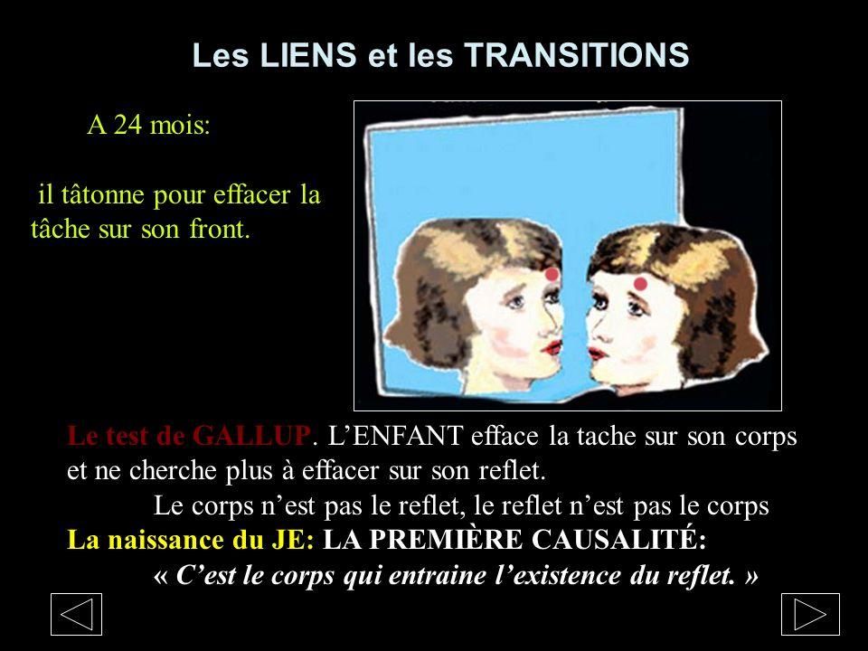 Les LIENS et les TRANSITIONS Le test de GALLUP Le test de GALLUP. LENFANT efface la tache sur son corps et ne cherche plus à effacer sur son reflet. L