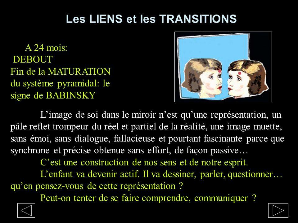 Les LIENS et les TRANSITIONS Limage de soi dans le miroir nest quune représentation, un pâle reflet trompeur du réel et partiel de la réalité, une ima