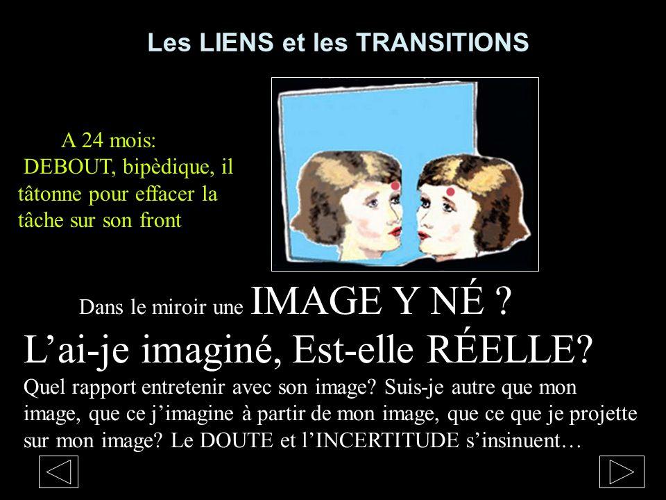 Les LIENS et les TRANSITIONS Dans le miroir une IMAGE Y NÉ ? Lai-je imaginé, Est-elle RÉELLE? Quel rapport entretenir avec son image? Suis-je autre qu