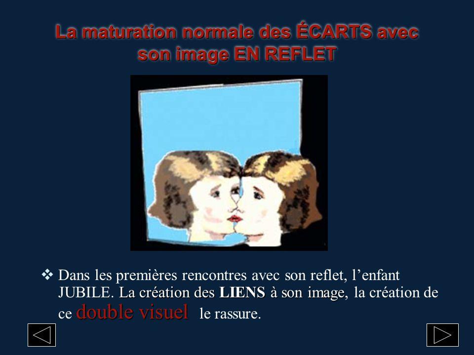 La maturation normale des ÉCARTS avec son image EN REFLET La création des LIENS à son image double visuel Dans les premières rencontres avec son refle