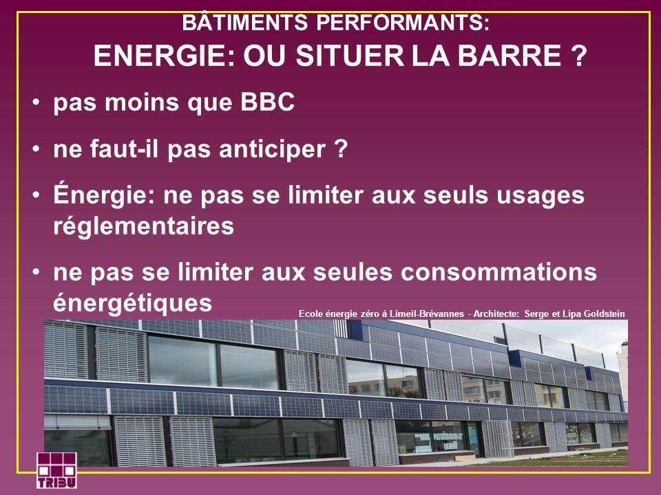 BÂTIMENTS PERFORMANTS: ENERGIE: OU SITUER LA BARRE ? pas moins que BBC ne faut-il pas anticiper ? Énergie: ne pas se limiter aux seuls usages réglemen