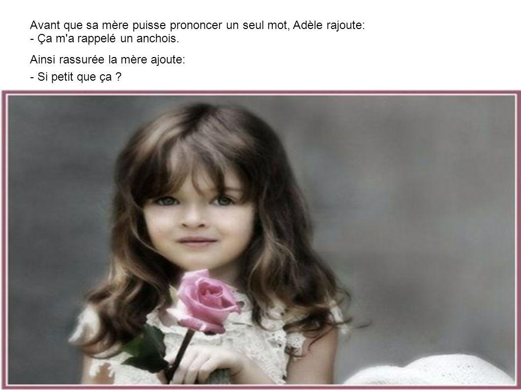 La petite Adèle revient de l'école toute souriante et dit à sa mère:- Jean Philippe m'a montré son ZIZI aujourd'hui dans la cour d'école.
