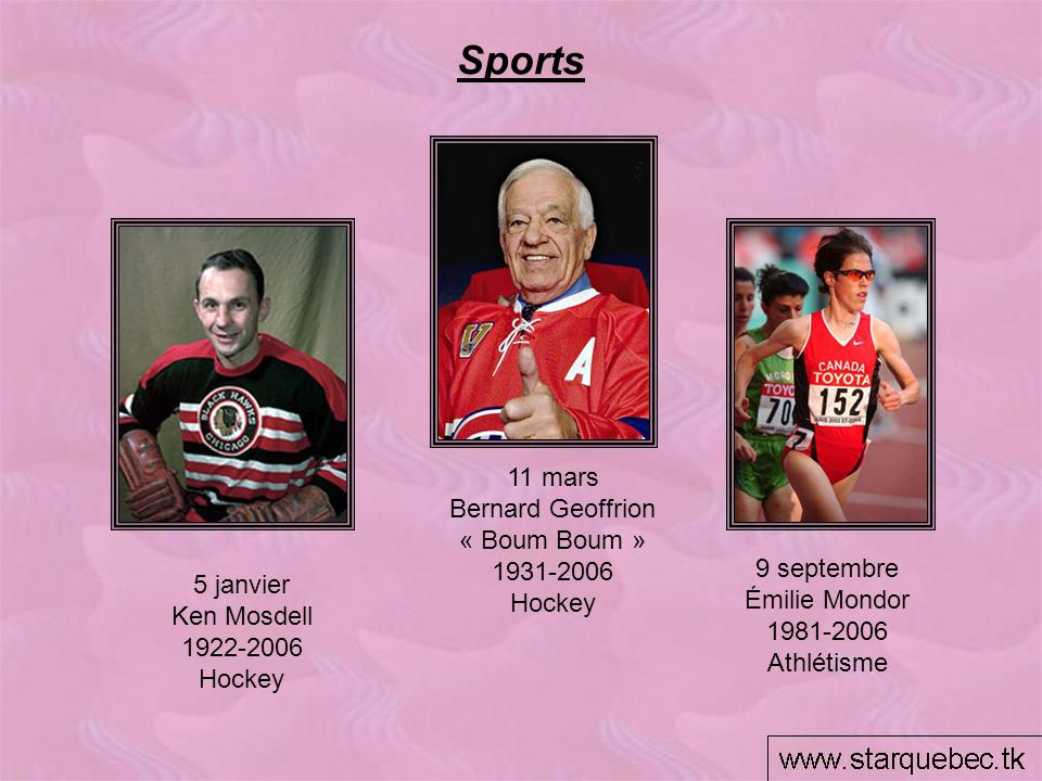 Sports 11 mars Bernard Geoffrion « Boum Boum » 1931-2006 Hockey 9 septembre Émilie Mondor 1981-2006 Athlétisme 5 janvier Ken Mosdell 1922-2006 Hockey