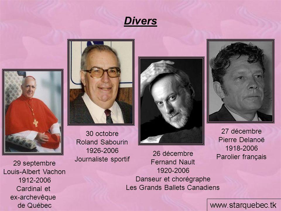 Divers 27 décembre Pierre Delanoë 1918-2006 Parolier français 30 octobre Roland Sabourin 1926-2006 Journaliste sportif 29 septembre Louis-Albert Vacho