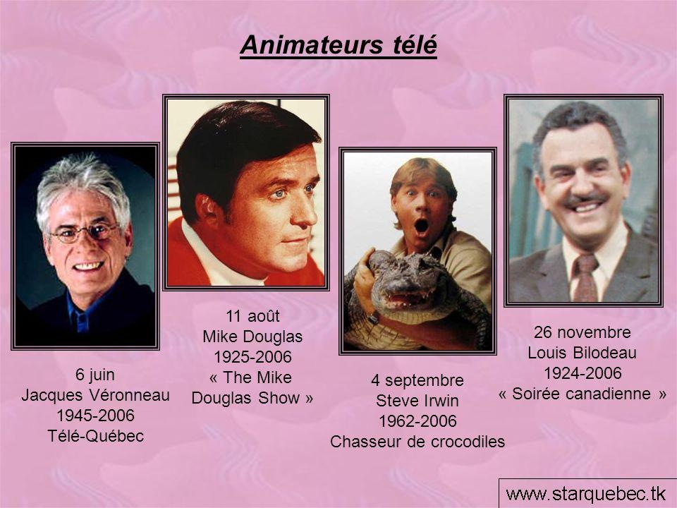 Animateurs télé 6 juin Jacques Véronneau 1945-2006 Télé-Québec 4 septembre Steve Irwin 1962-2006 Chasseur de crocodiles 26 novembre Louis Bilodeau 192