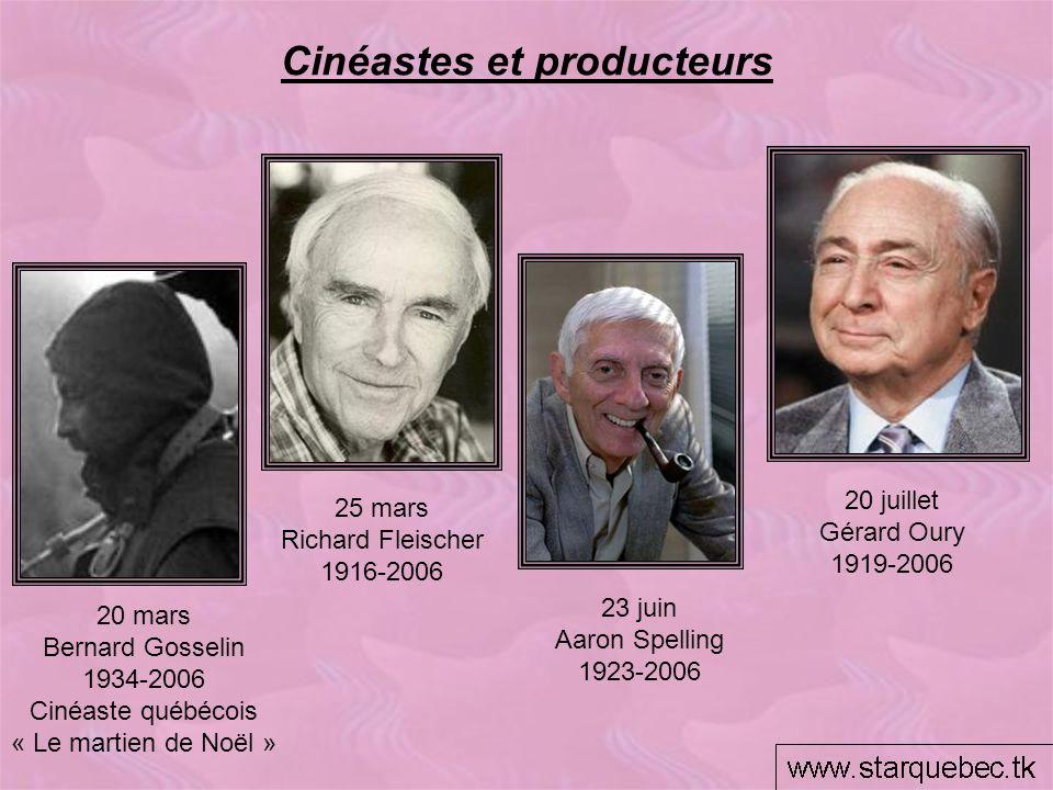 Cinéastes et producteurs 20 juillet Gérard Oury 1919-2006 23 juin Aaron Spelling 1923-2006 25 mars Richard Fleischer 1916-2006 20 mars Bernard Gosseli
