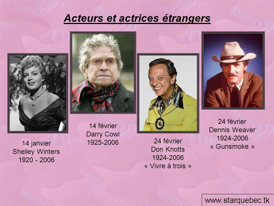 24 février Don Knotts 1924-2006 « Vivre à trois » 24 février Dennis Weaver 1924-2006 « Gunsmoke » Acteurs et actrices étrangers 14 janvier Shelley Win