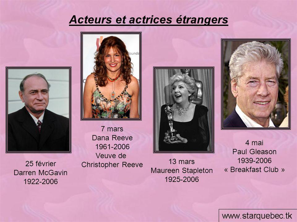 Acteurs et actrices étrangers 13 mars Maureen Stapleton 1925-2006 7 mars Dana Reeve 1961-2006 Veuve de Christopher Reeve 4 mai Paul Gleason 1939-2006