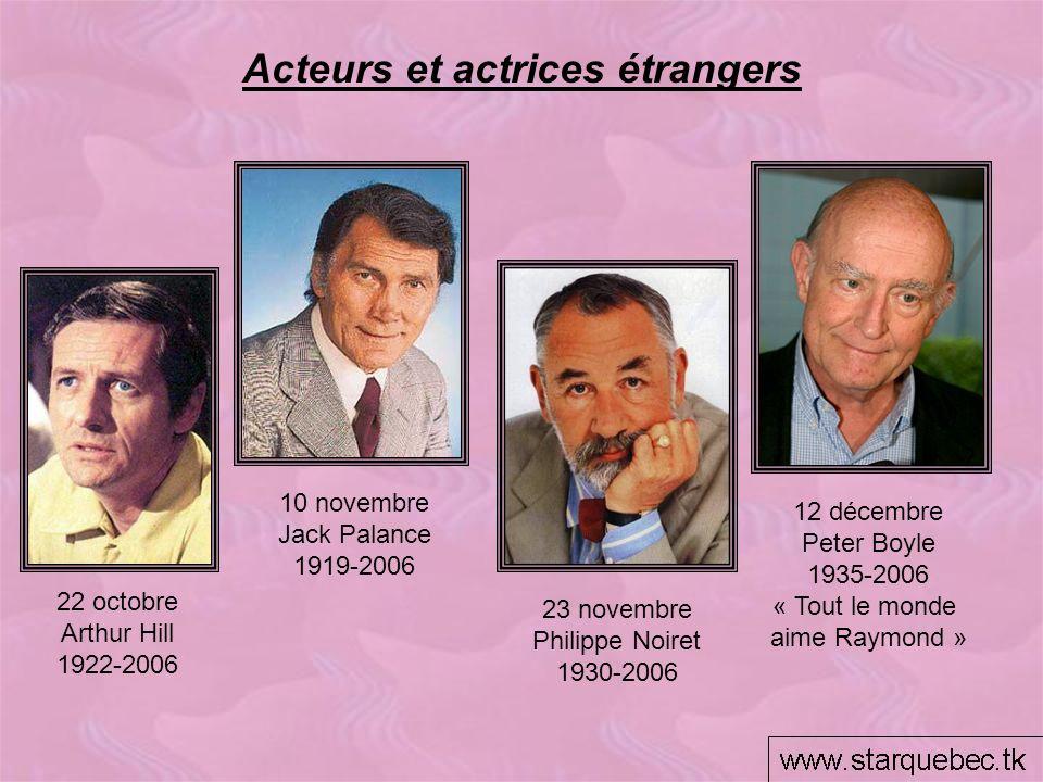 Acteurs et actrices étrangers 12 décembre Peter Boyle 1935-2006 « Tout le monde aime Raymond » 22 octobre Arthur Hill 1922-2006 10 novembre Jack Palan