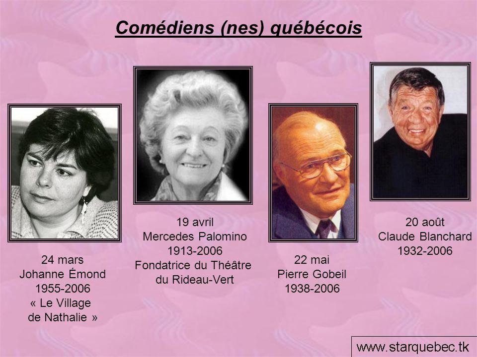 Comédiens (nes) québécois 19 avril Mercedes Palomino 1913-2006 Fondatrice du Théâtre du Rideau-Vert 24 mars Johanne Émond 1955-2006 « Le Village de Na