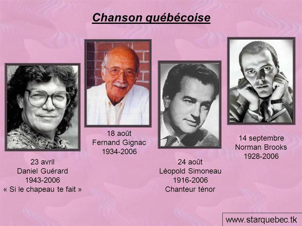 Chanson québécoise 14 septembre Norman Brooks 1928-2006 18 août Fernand Gignac 1934-2006 23 avril Daniel Guérard 1943-2006 « Si le chapeau te fait » 2