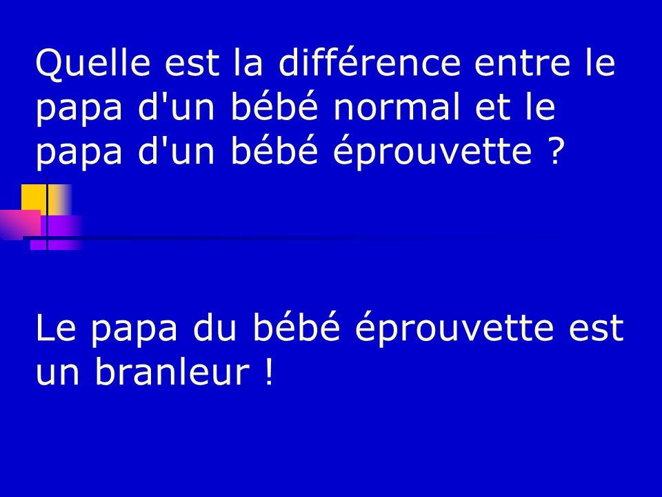 Quelle est la différence entre le papa d un bébé normal et le papa d un bébé éprouvette .