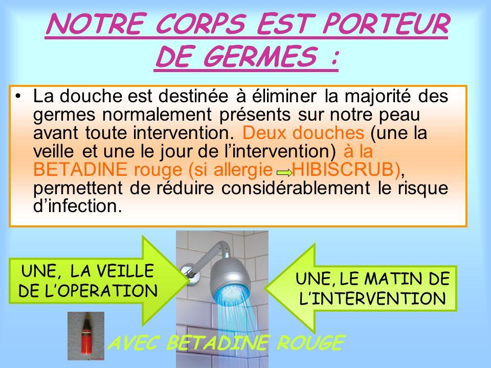 NOTRE CORPS EST PORTEUR DE GERMES : La douche est destinée à éliminer la majorité des germes normalement présents sur notre peau avant toute intervent