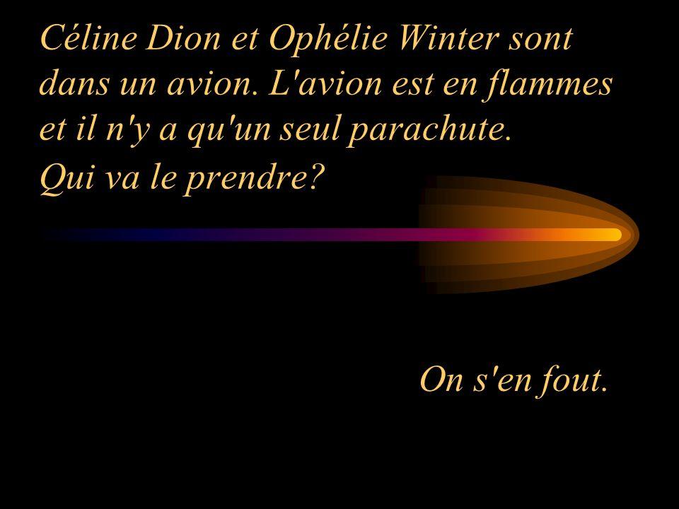 Céline Dion et Ophélie Winter sont dans un avion. L'avion est en flammes et il n'y a qu'un seul parachute. Qui va le prendre? On s'en fout.
