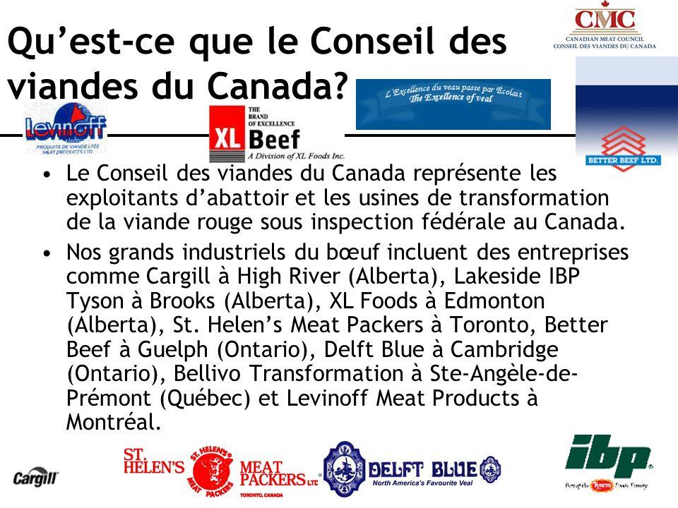 Matériel à risque spécifié (MRS) Depuis juillet 2003, le Canada exige lenlèvement du matériel à risque spécifié (MRS) dans les abattoirs pour tous les bovins âgés de 30 mois ou plus.