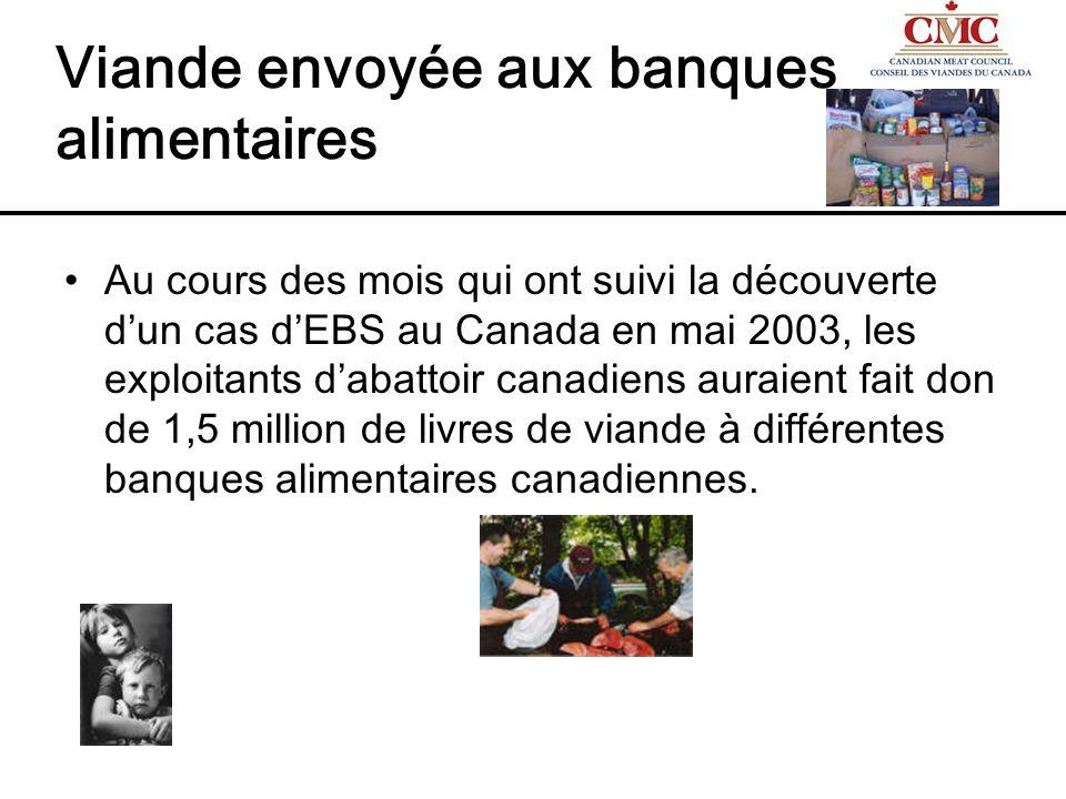 Viande envoyée aux banques alimentaires Au cours des mois qui ont suivi la découverte dun cas dEBS au Canada en mai 2003, les exploitants dabattoir ca