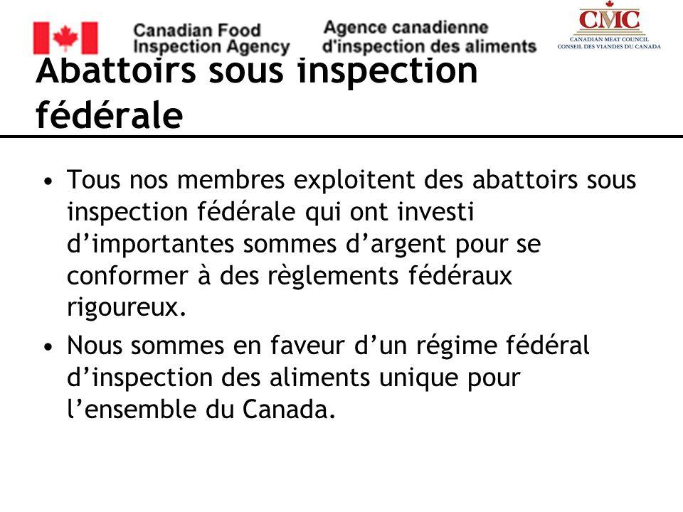 Abattoirs sous inspection fédérale Tous nos membres exploitent des abattoirs sous inspection fédérale qui ont investi dimportantes sommes dargent pour