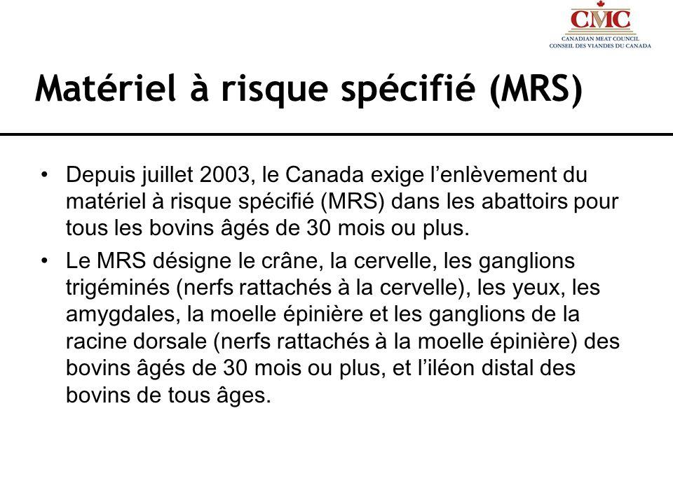 Matériel à risque spécifié (MRS) Depuis juillet 2003, le Canada exige lenlèvement du matériel à risque spécifié (MRS) dans les abattoirs pour tous les