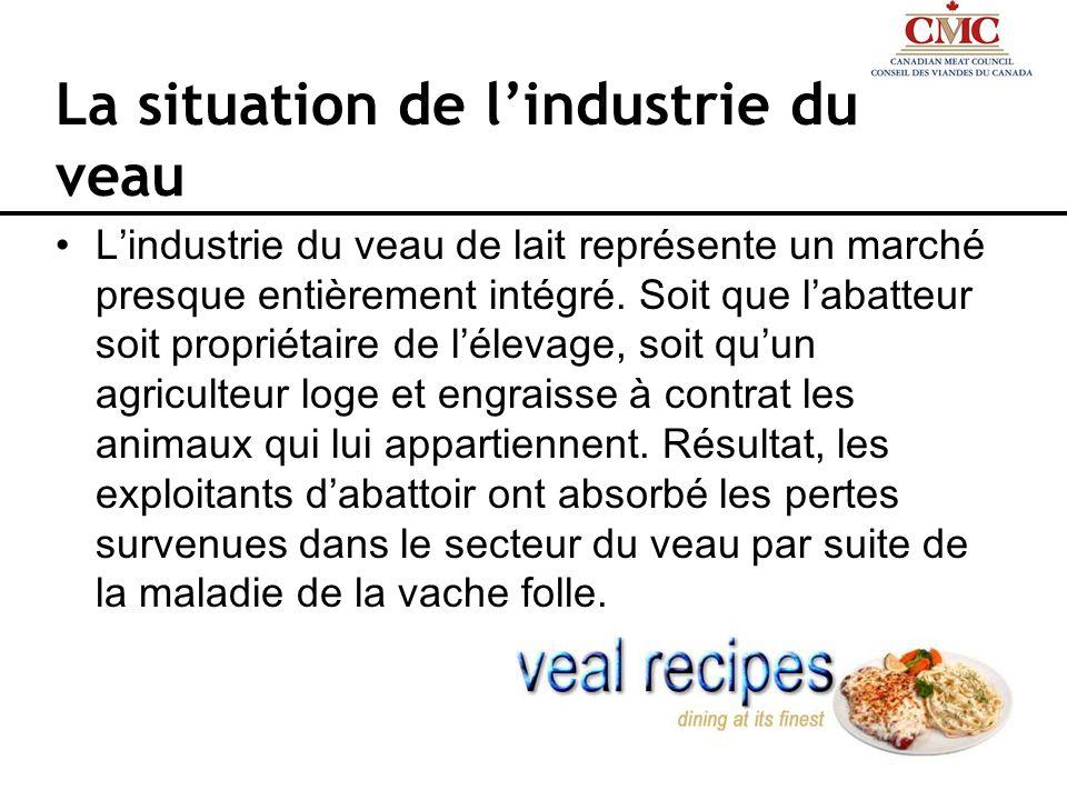 La situation de lindustrie du veau Lindustrie du veau de lait représente un marché presque entièrement intégré. Soit que labatteur soit propriétaire d