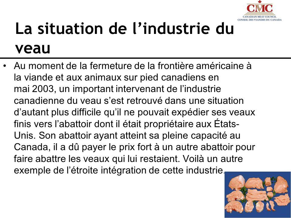 La situation de lindustrie du veau Au moment de la fermeture de la frontière américaine à la viande et aux animaux sur pied canadiens en mai 2003, un
