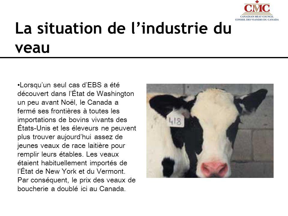 La situation de lindustrie du veau Lorsquun seul cas dEBS a été découvert dans lÉtat de Washington un peu avant Noël, le Canada a fermé ses frontières