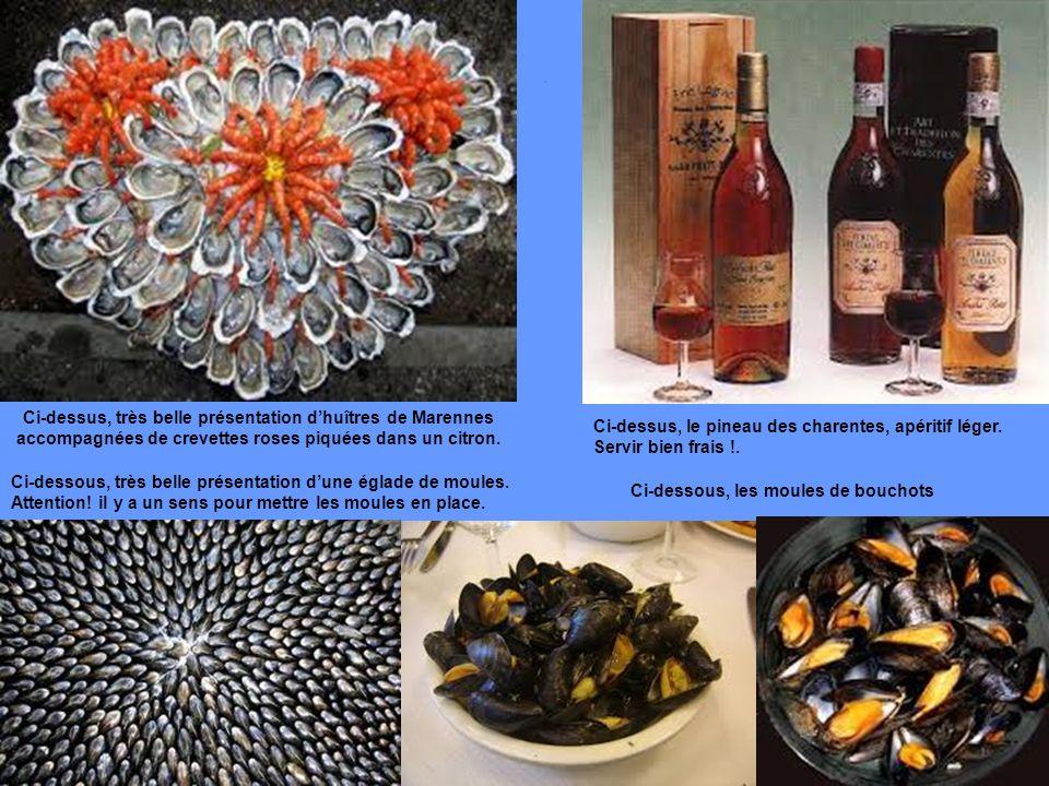 Ci-dessus, très belle présentation dhuîtres de Marennes accompagnées de crevettes roses piquées dans un citron.