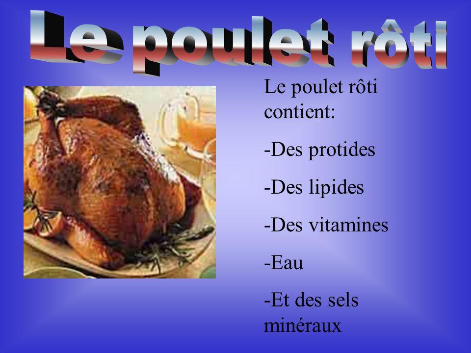 Le poulet rôti contient: -Des protides -Des lipides -Des vitamines -Eau -Et des sels minéraux
