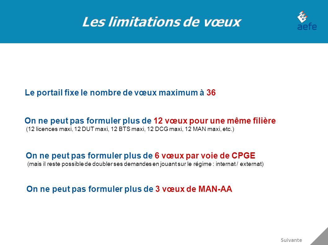 Le portail fixe le nombre de vœux maximum à 36 On ne peut pas formuler plus de 12 vœux pour une même filière (12 licences maxi, 12 DUT maxi, 12 BTS ma