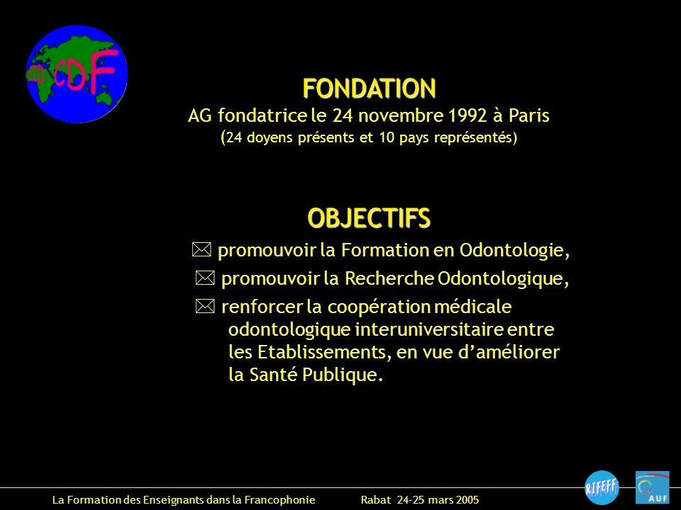 FONDATION AG fondatrice le 24 novembre 1992 à Paris ( 24 doyens présents et 10 pays représentés)OBJECTIFS promouvoir la Formation en Odontologie, promouvoir la Recherche Odontologique, renforcer la coopération médicale odontologique interuniversitaire entre les Etablissements, en vue daméliorer la Santé Publique.