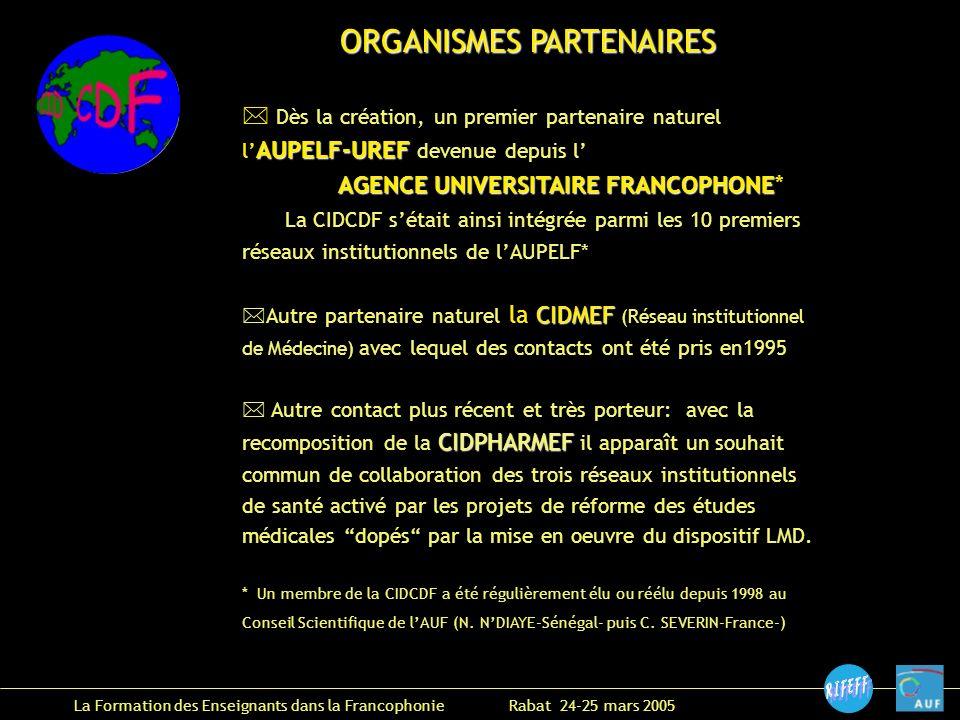 La Formation des Enseignants dans la Francophonie Rabat 24-25 mars 2005 ORGANISMES PARTENAIRES * Dès la création, un premier partenaire naturel AUPELF-UREF l AUPELF-UREF devenue depuis l AGENCE UNIVERSITAIRE FRANCOPHONE AGENCE UNIVERSITAIRE FRANCOPHONE* La CIDCDF sétait ainsi intégrée parmi les 10 premiers réseaux institutionnels de lAUPELF* CIDMEF *Autre partenaire naturel la CIDMEF (Réseau institutionnel de Médecine) avec lequel des contacts ont été pris en1995 CIDPHARMEF * Autre contact plus récent et très porteur: avec la recomposition de la CIDPHARMEF il apparaît un souhait commun de collaboration des trois réseaux institutionnels de santé activé par les projets de réforme des études médicales dopés par la mise en oeuvre du dispositif LMD.