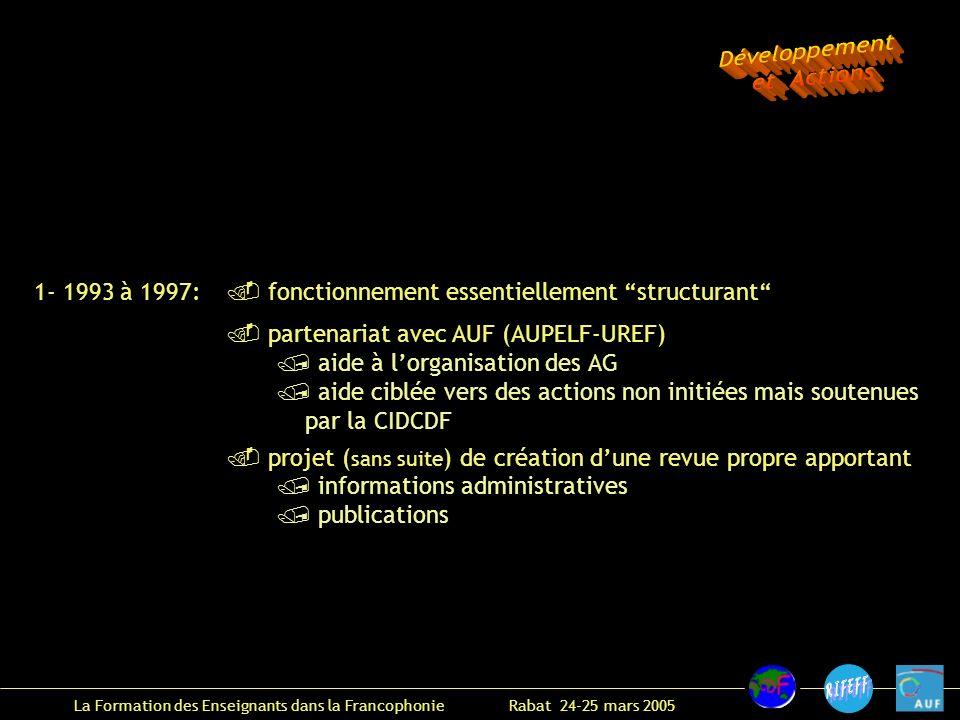 La Formation des Enseignants dans la Francophonie Rabat 24-25 mars 2005 1- 1993 à 1997: fonctionnement essentiellement structurant partenariat avec AUF (AUPELF-UREF) aide à lorganisation des AG aide ciblée vers des actions non initiées mais soutenues par la CIDCDF projet ( sans suite ) de création dune revue propre apportant informations administratives publications