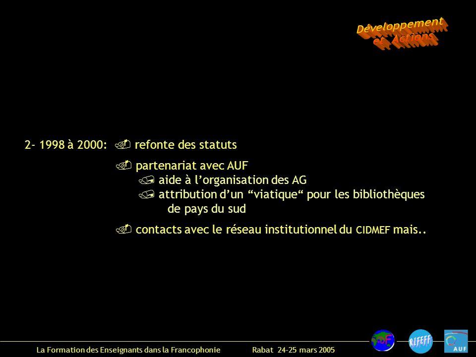 La Formation des Enseignants dans la Francophonie Rabat 24-25 mars 2005 2- 1998 à 2000: refonte des statuts partenariat avec AUF aide à lorganisation des AG attribution dun viatique pour les bibliothèques de pays du sud contacts avec le réseau institutionnel du CIDMEF mais..