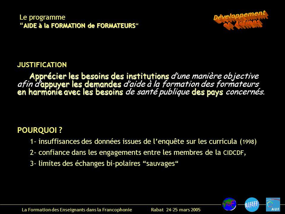 La Formation des Enseignants dans la Francophonie Rabat 24-25 mars 2005 Le programme AIDE à la FORMATION de FORMATEURS POURQUOI .