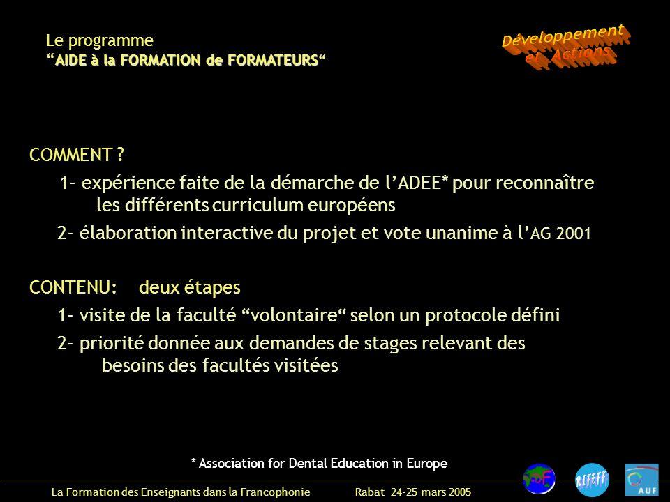 La Formation des Enseignants dans la Francophonie Rabat 24-25 mars 2005 COMMENT .