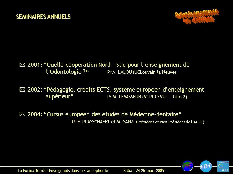 La Formation des Enseignants dans la Francophonie Rabat 24-25 mars 2005 2001: Quelle coopération Nord Sud pour lenseignement de lOdontologie .