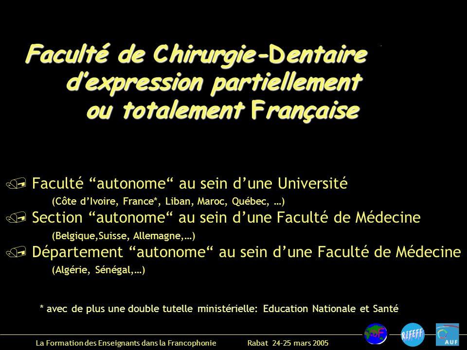 La Formation des Enseignants dans la Francophonie Rabat 24-25 mars 2005 .