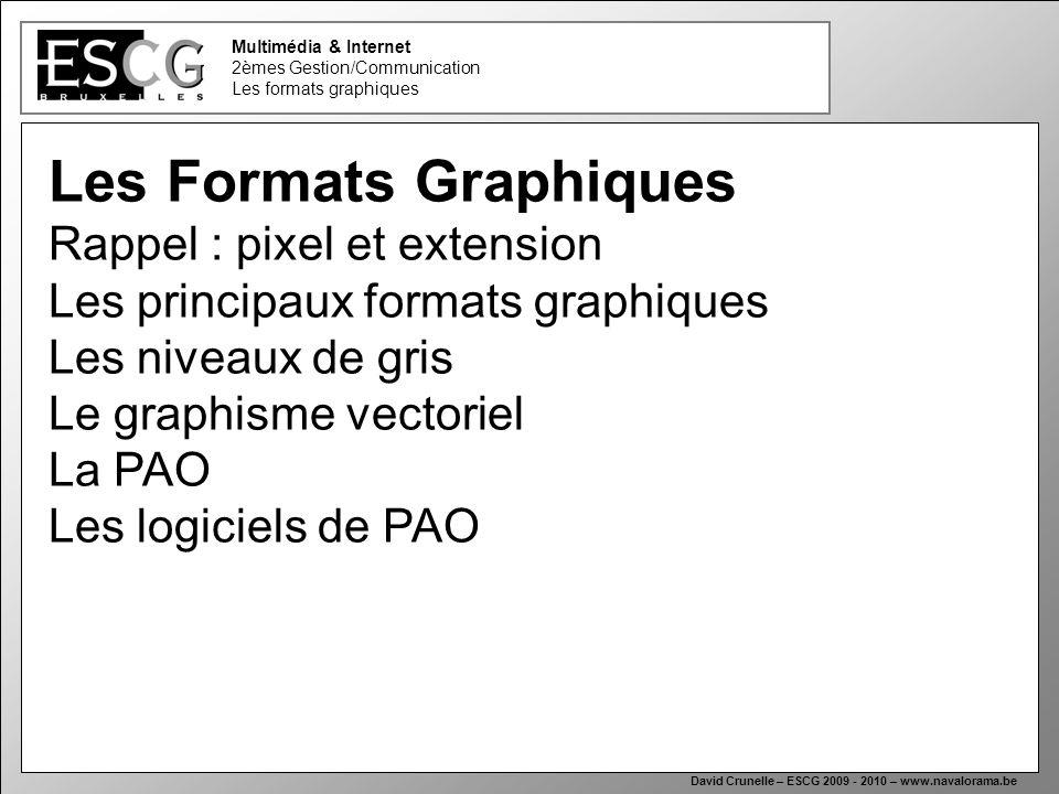 1 Multimédia & Internet 2èmes Gestion/Communication Les formats graphiques David Crunelle – ESCG 2009 - 2010 – www.navalorama.be Les Formats Graphique