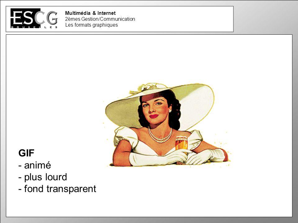 12 Multimédia & Internet 2èmes Gestion/Communication Les formats graphiques GIF - animé - plus lourd - fond transparent