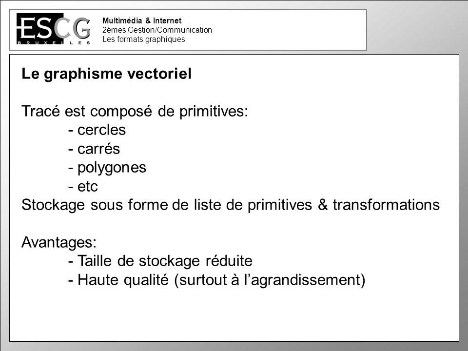 19 Multimédia & Internet 2èmes Gestion/Communication Les formats graphiques Le graphisme vectoriel Tracé est composé de primitives: - cercles - carrés