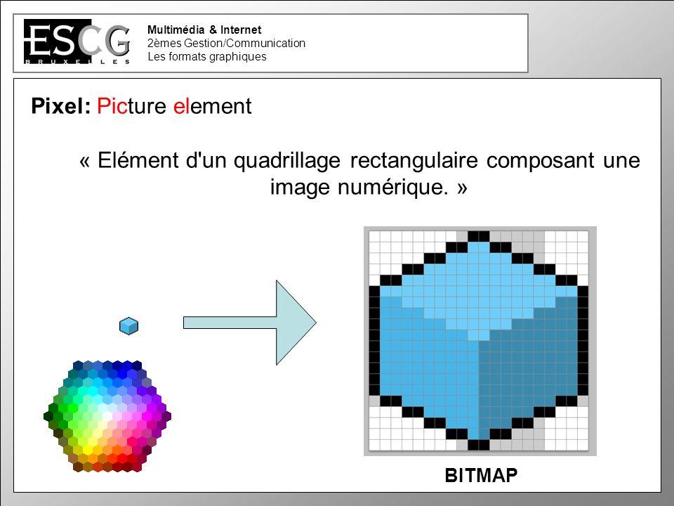 2 Multimédia & Internet 2èmes Gestion/Communication Les formats graphiques Pixel: Picture element « Elément d'un quadrillage rectangulaire composant u