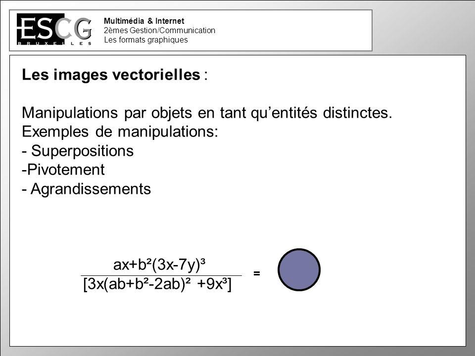 22 Multimédia & Internet 2èmes Gestion/Communication Les formats graphiques Manipulations par objets en tant quentités distinctes.