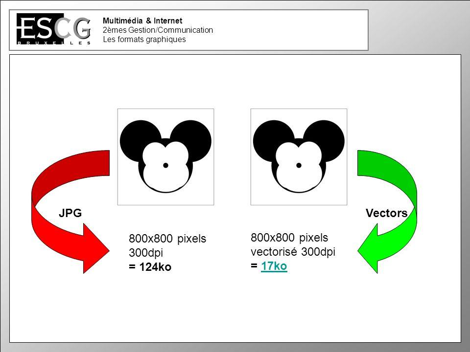 25 Multimédia & Internet 2èmes Gestion/Communication Les formats graphiques JPGVectors 800x800 pixels 300dpi = 124ko 800x800 pixels vectorisé 300dpi = 17ko17ko