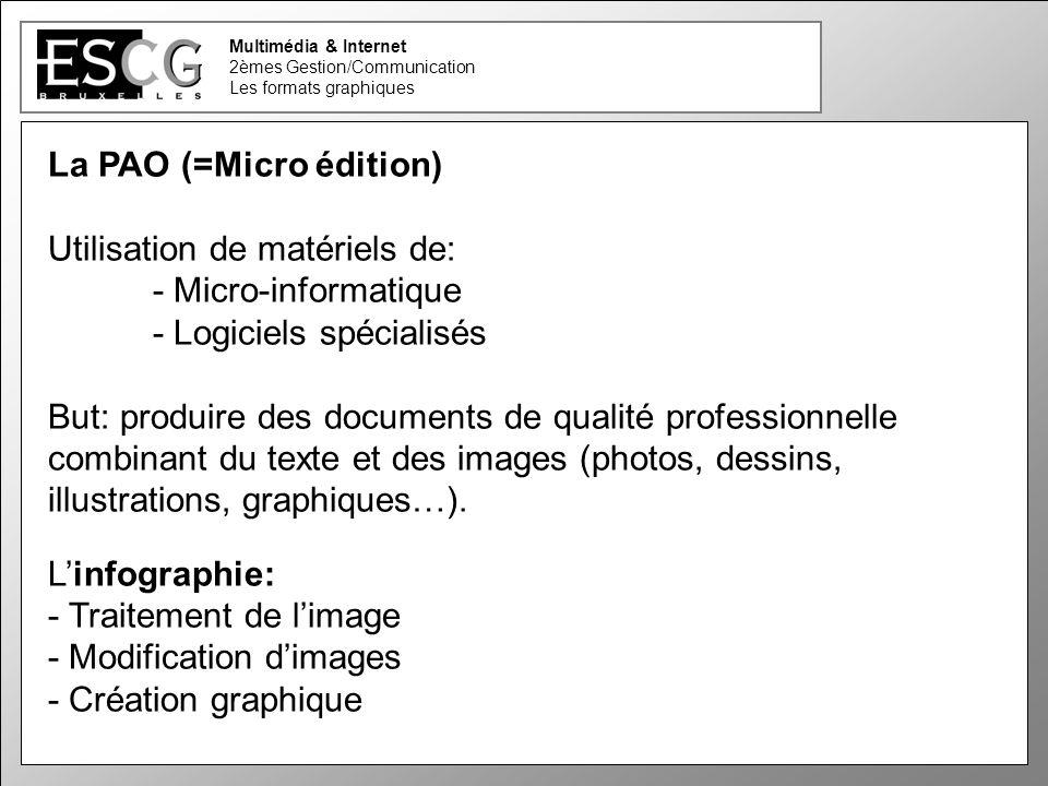 26 Multimédia & Internet 2èmes Gestion/Communication Les formats graphiques La PAO (=Micro édition) Utilisation de matériels de: - Micro-informatique