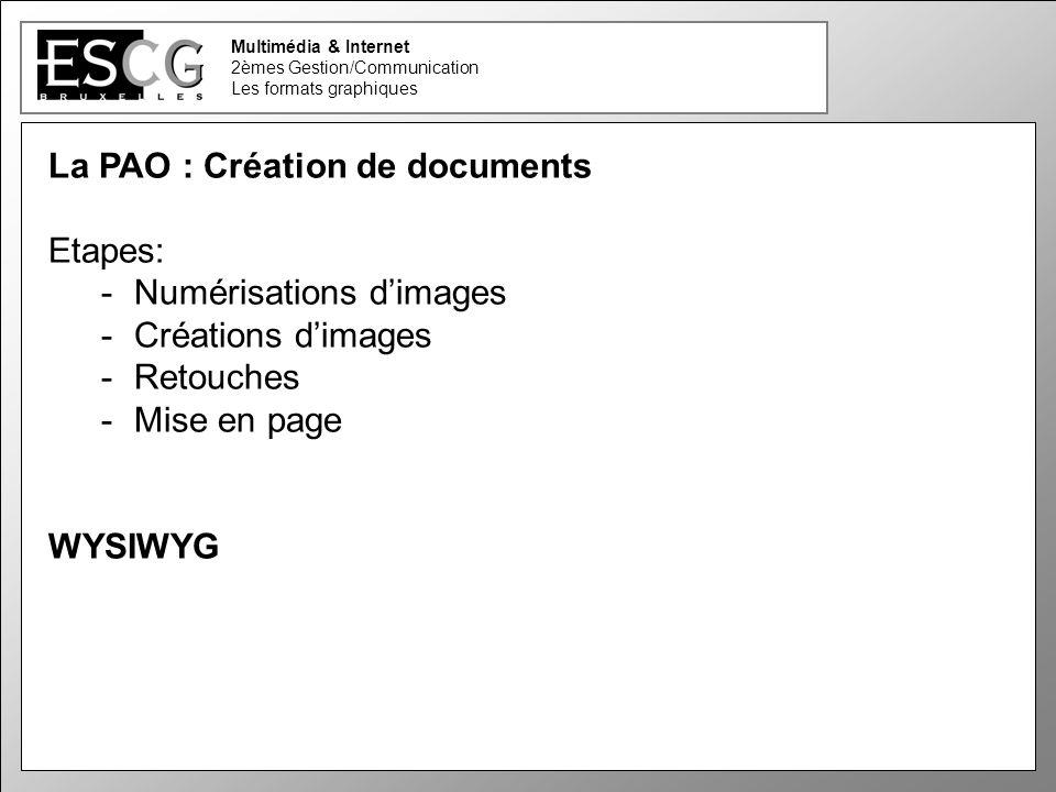 27 Multimédia & Internet 2èmes Gestion/Communication Les formats graphiques La PAO : Création de documents Etapes: -Numérisations dimages -Créations d