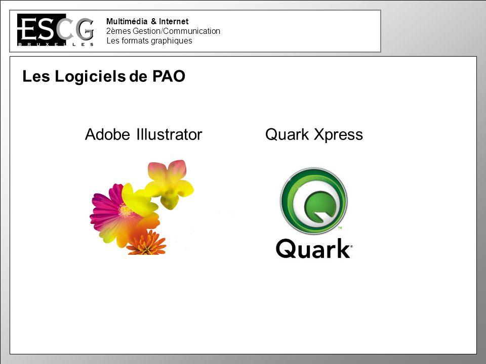 29 Multimédia & Internet 2èmes Gestion/Communication Les formats graphiques Les Logiciels de PAO Adobe Illustrator Quark Xpress