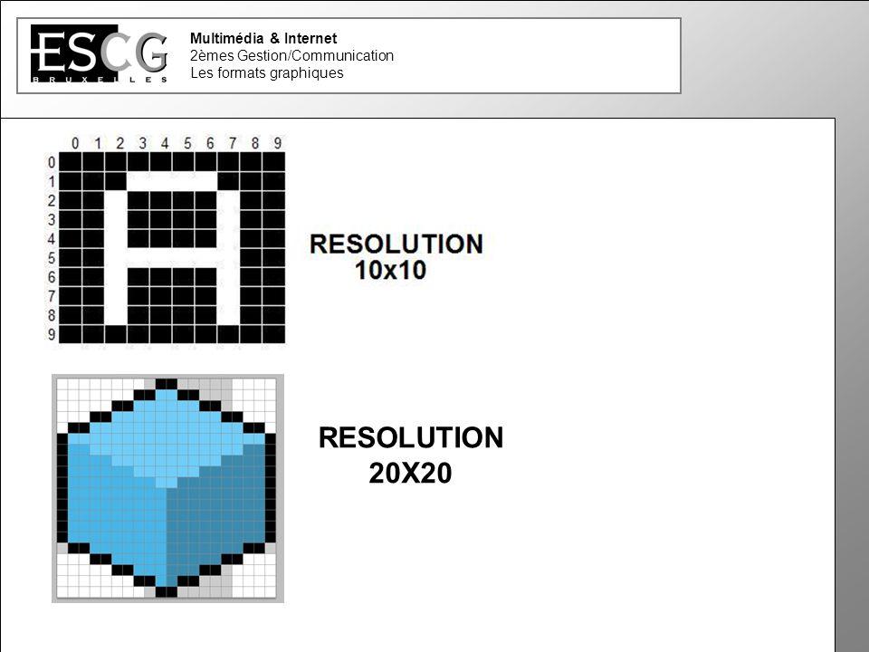 Multimédia & Internet 2èmes Gestion/Communication Les formats graphiques RESOLUTION 20X20